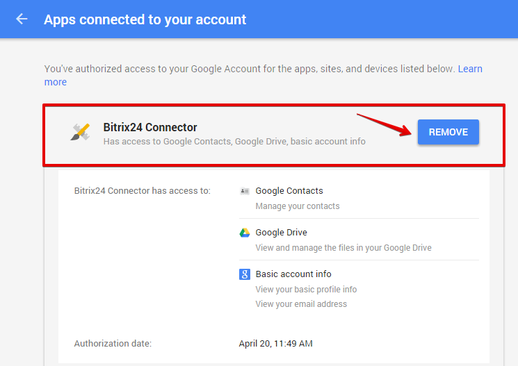 Disconnect Google Drive, Dropbox, Box, Yandex Disk from Bitrix24