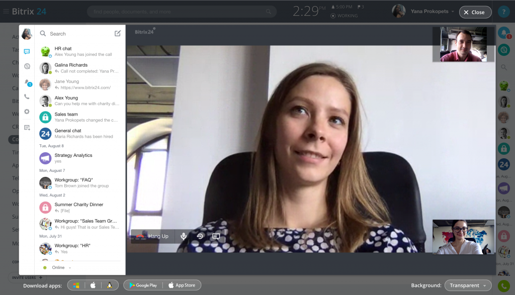 HD video conferencing with screen sharing