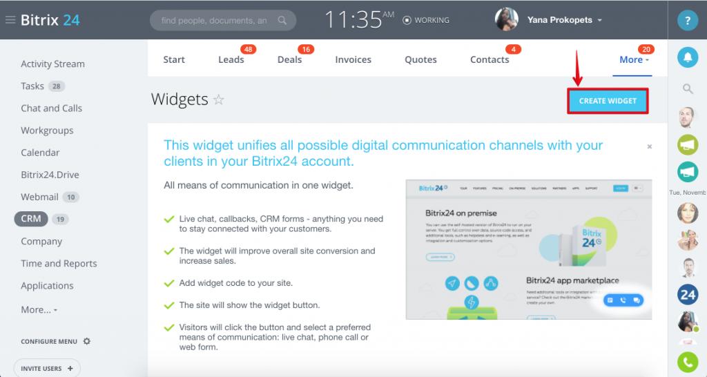 Widget trang web: trò chuyện, hình thức web và gọi lại