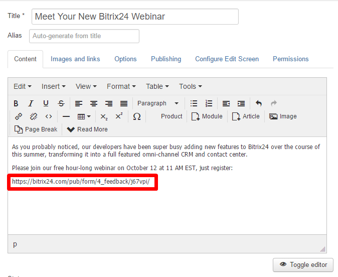 Joomla plugin for Bitrix24 (coming soon)
