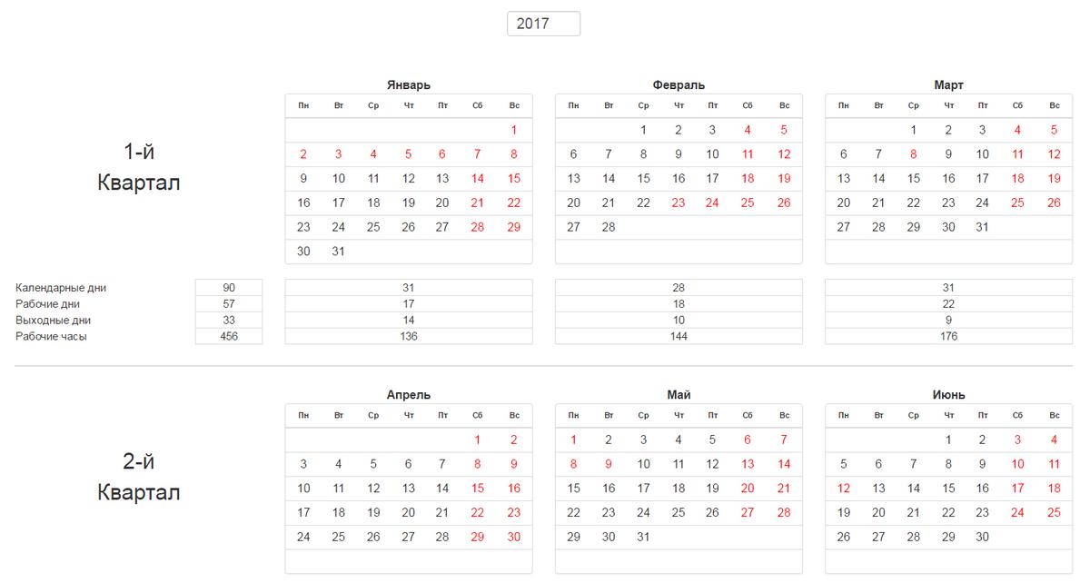 Производственный календарь на 2017 г крым